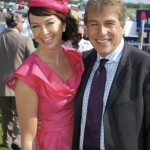 The Oaks – with John Inverdale. Dress by 'Suzannah' hat by Rachel Trevor Morgan