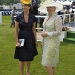The Derby with Clare. Dress by Hardy Amies hat by Rachel Trevor Morgan.