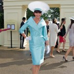 Dress by Antony Price, the hat Stephen Jones